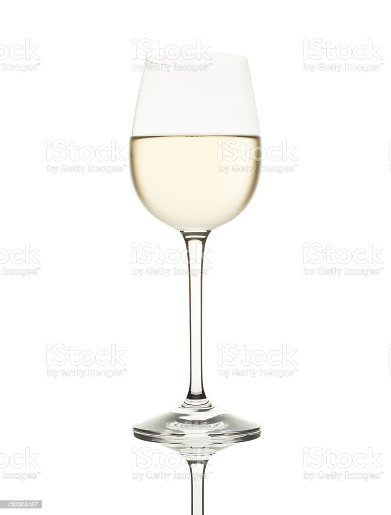 Glass of white wine isolated on white stock photo