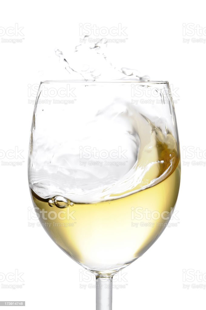 Glass of white wine, isolated stock photo