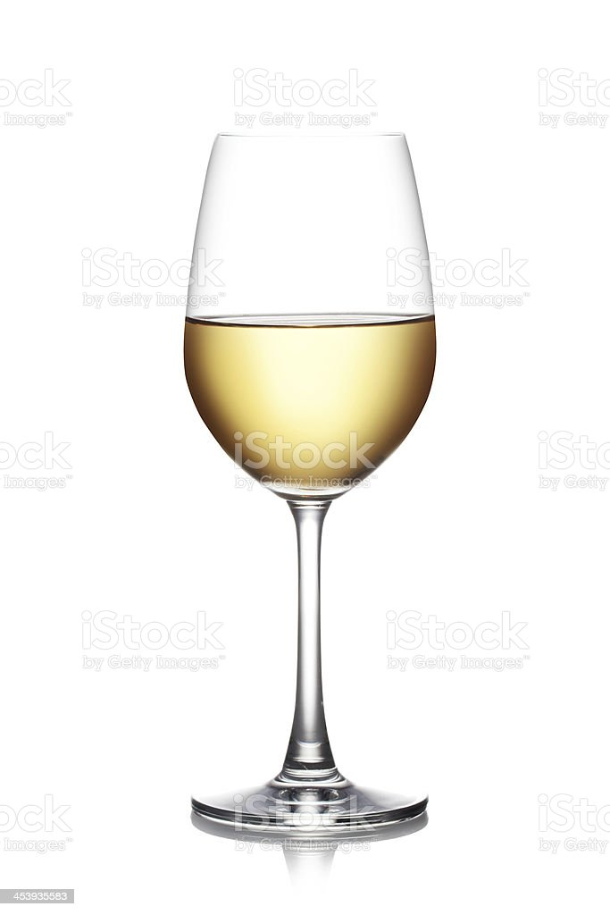 Glass of white wine stock photo