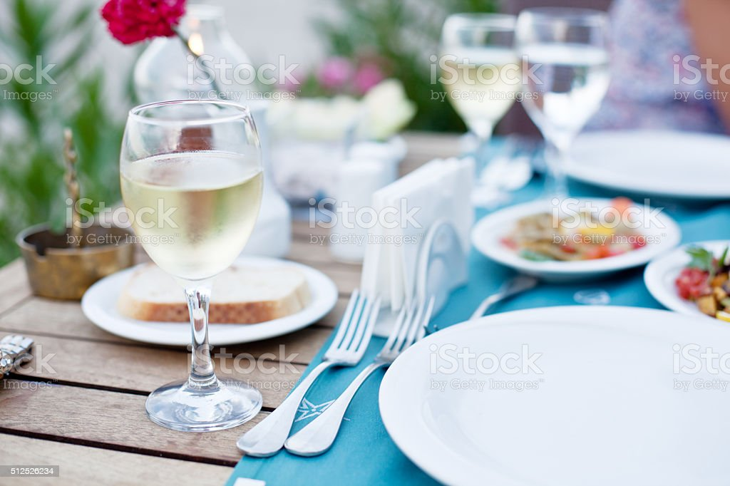 Glass of white wine. stock photo
