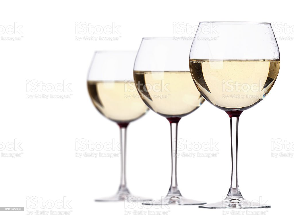 glass of white wine set isolated royalty-free stock photo