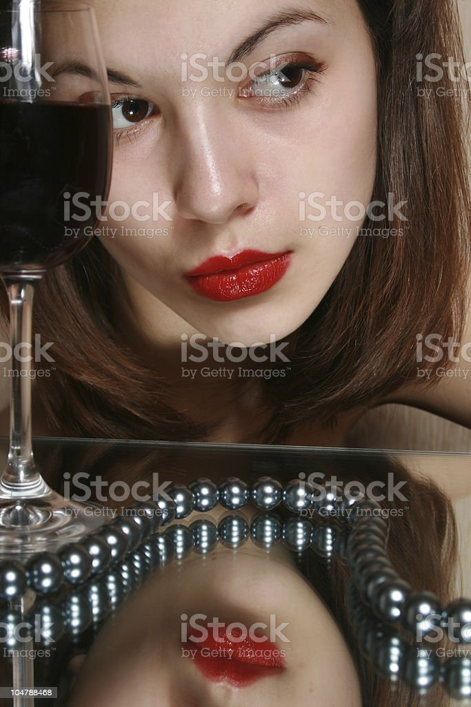 Glass of wine and youth. royalty-free stock photo