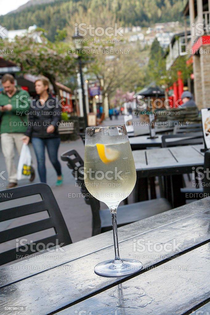 Glass of Wine in Queenstown - New Zealand stock photo