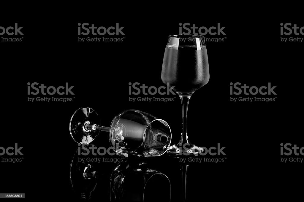 Glass of Wine On Black and White royalty-free stock photo