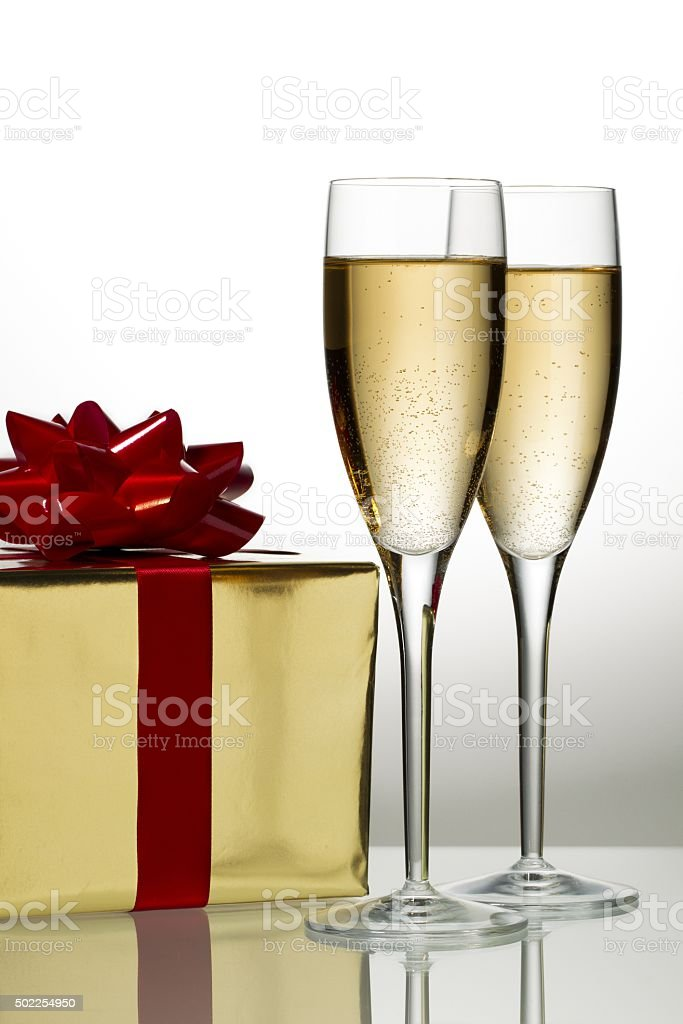glass of wine with gift stock photo