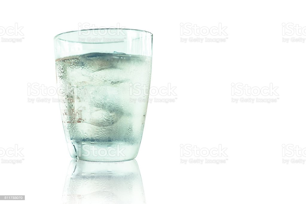 Glass of wisky, soda and ice stock photo