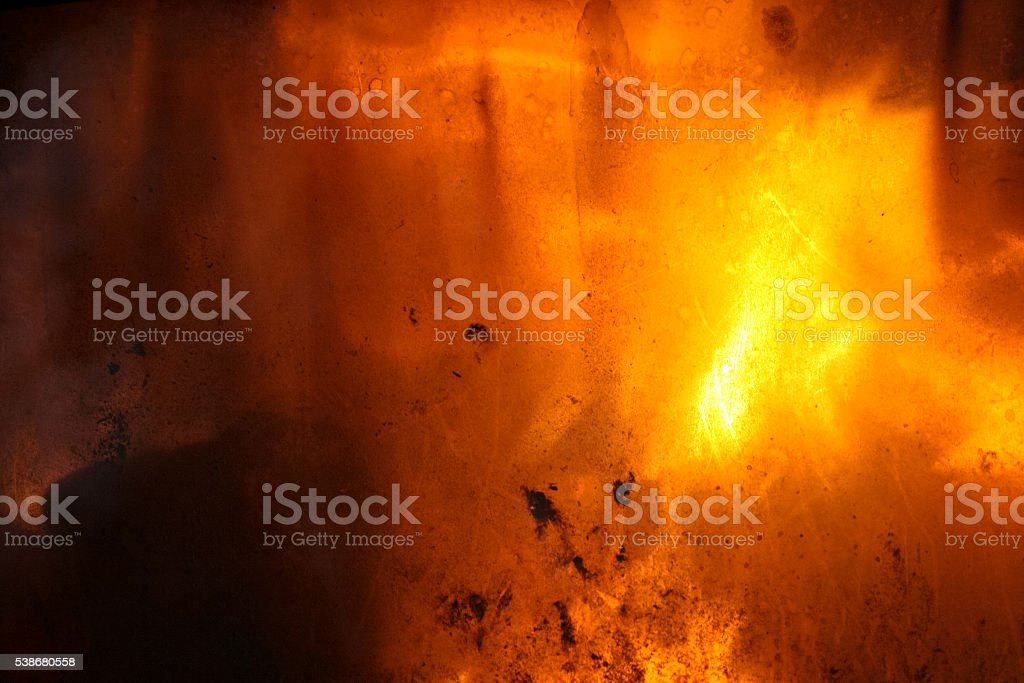 Glass on front of fireplace. stock photo