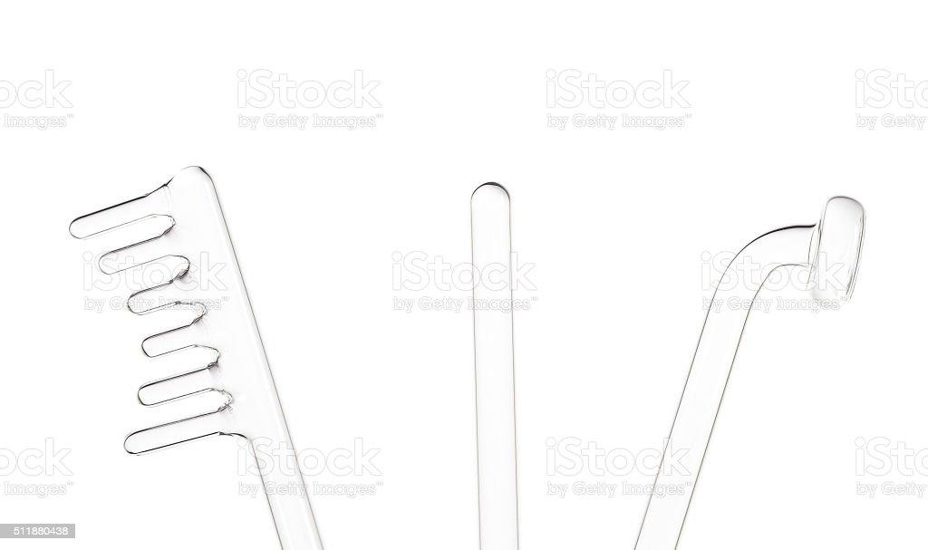 glass parts of the device darsonvalization stock photo