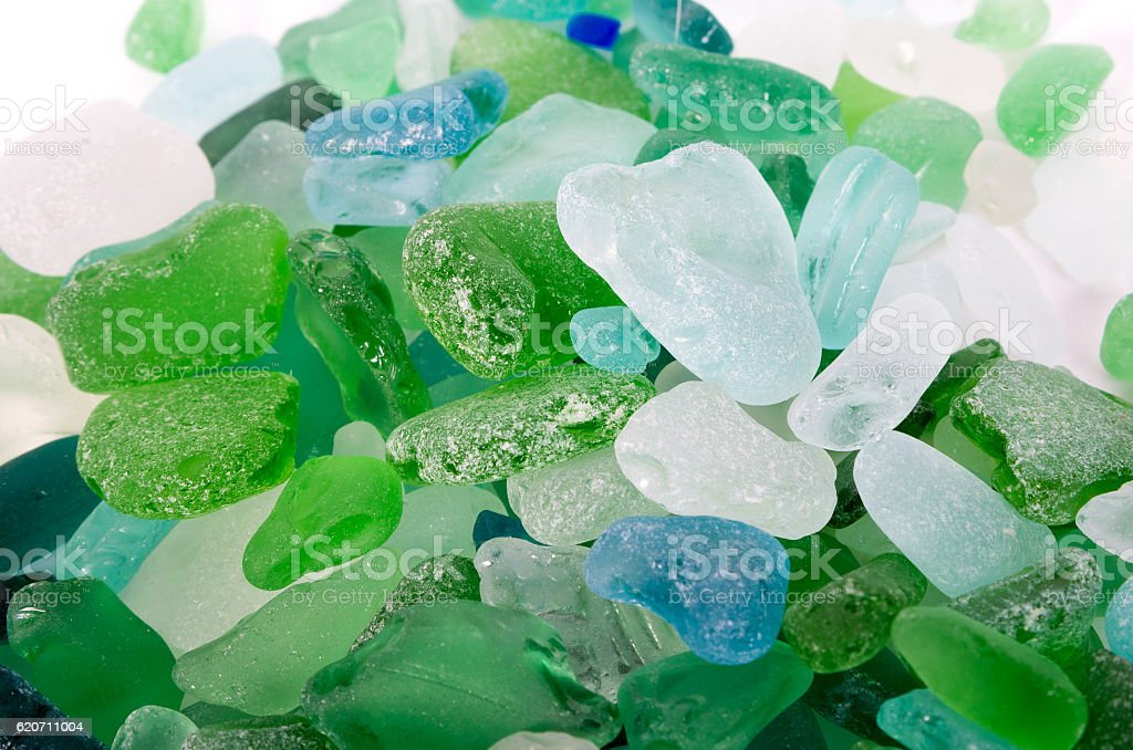 Glass pieces found in the sea stock photo
