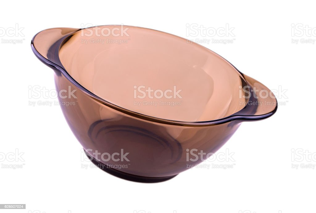 Glass plate on a white background transparent matte deep brown stock photo