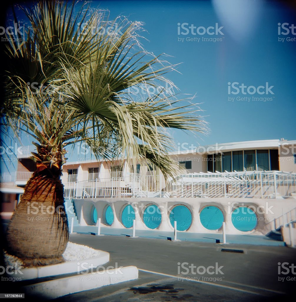 Glass Pool Inn Motel Las Vegas Nevada, Holga, Retro, Square royalty-free stock photo