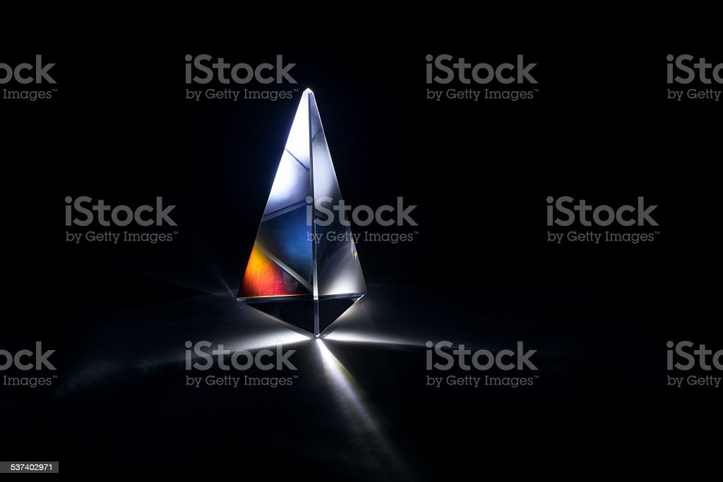 glass prism with starlight stock photo