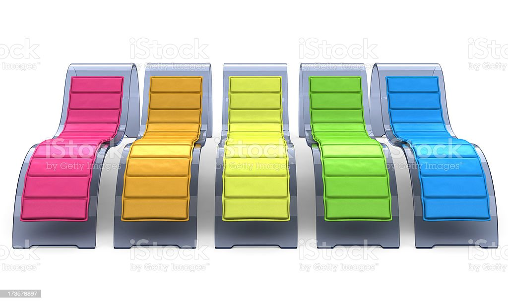 Glass Recliner Chairs in Rainbow Colors royalty-free stock photo