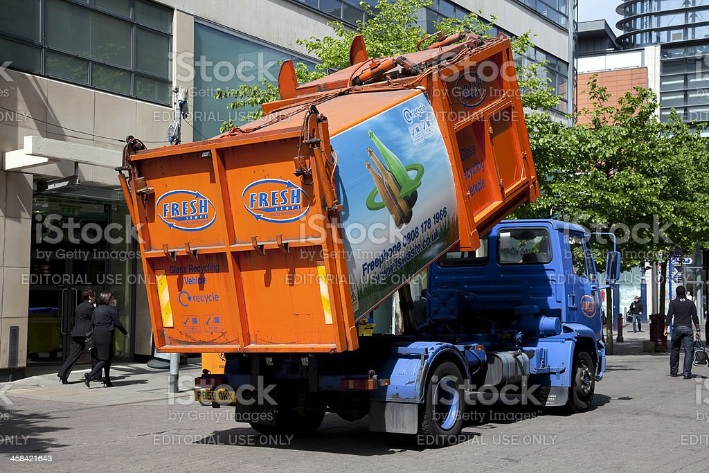 Glass recycling vehicle royalty-free stock photo