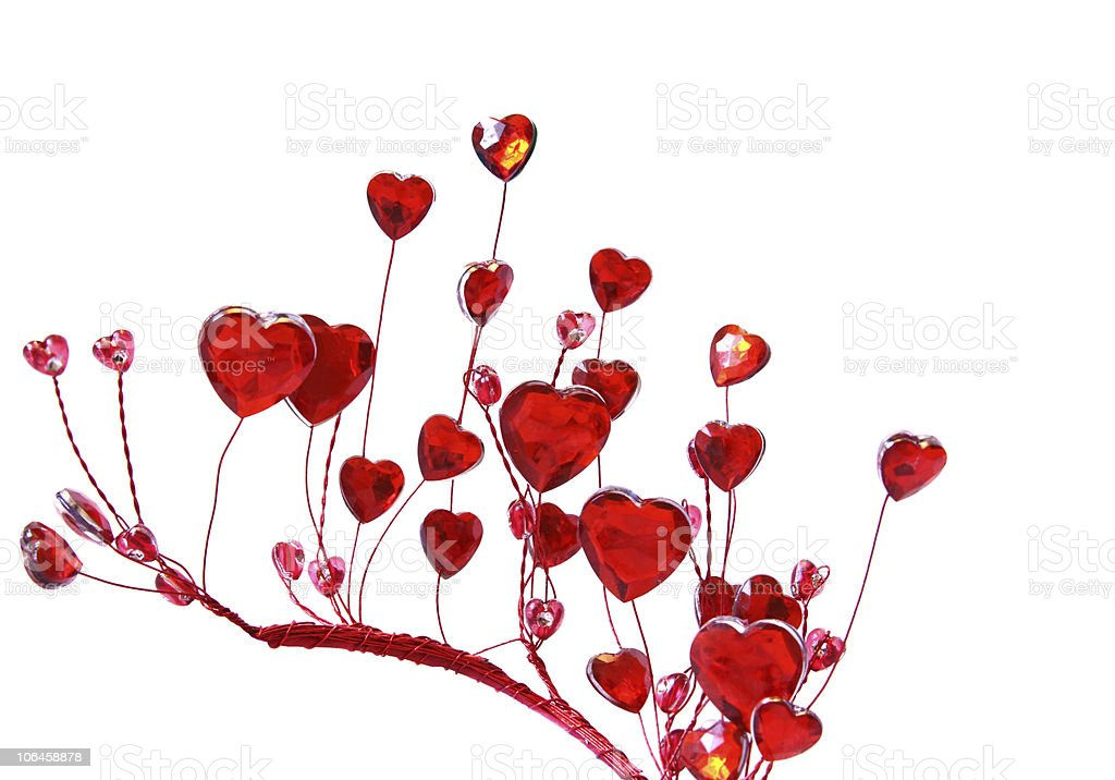 Glass Red Hearts on white background stock photo