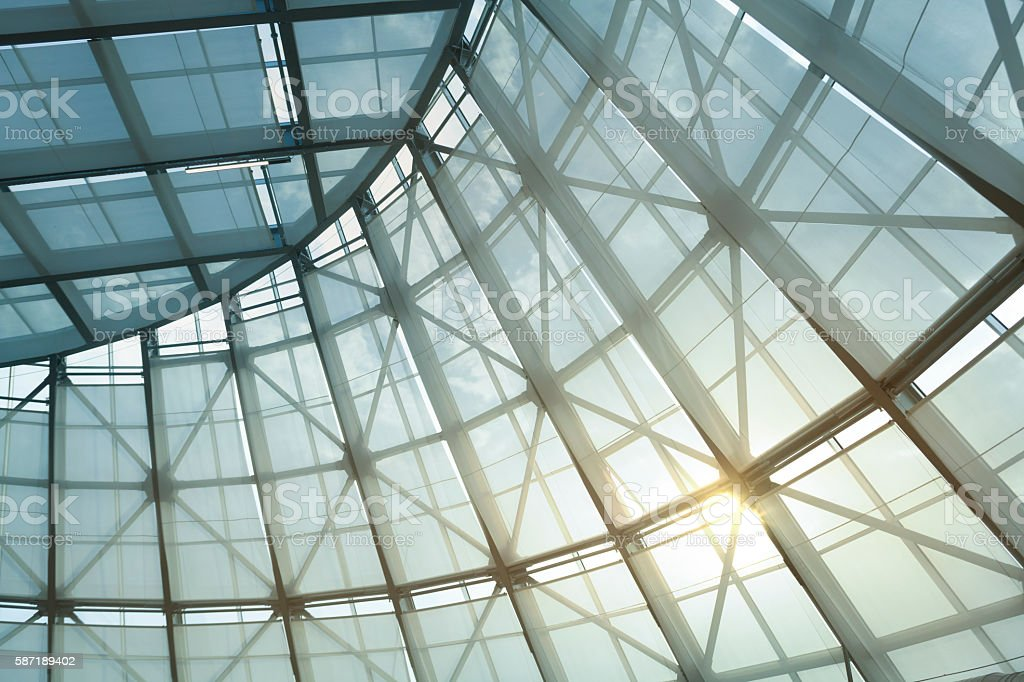 Glass Roof and Curtain of Greenhouse with Sunlight stock photo