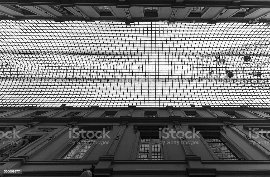 glass roof ceiling galeries royales st hubert in brussel belgium stock photo