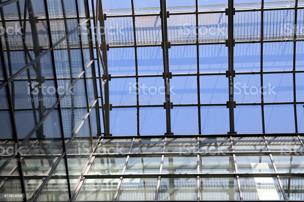 glass roof of building stock photo