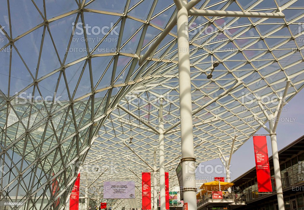 Glass roof of Fiera Milano stock photo