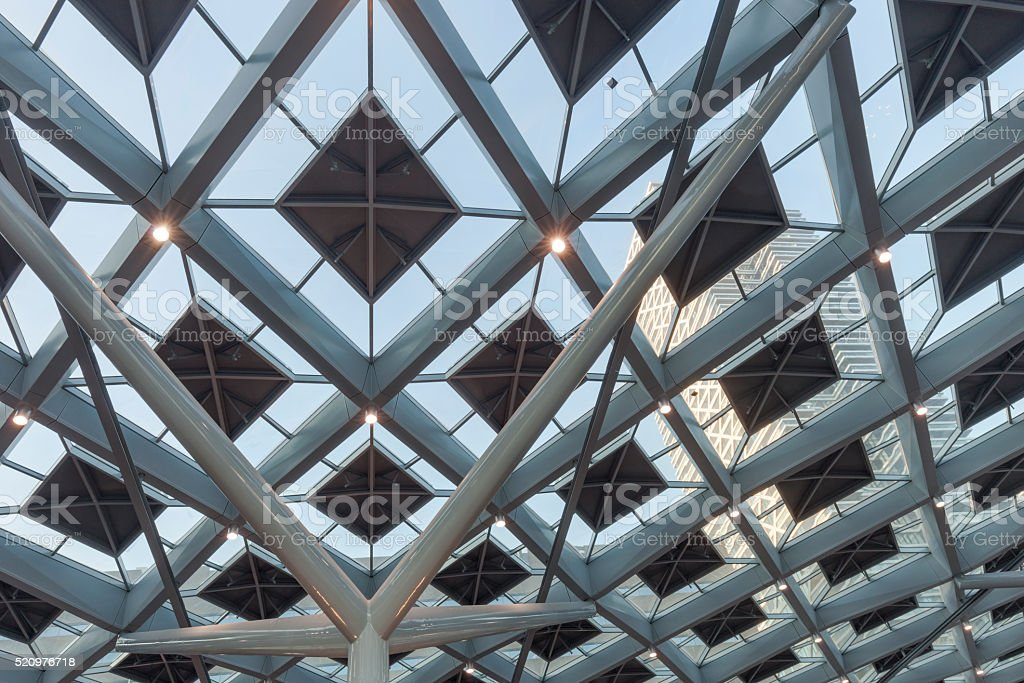 glass roof of The Hague's central railway station stock photo