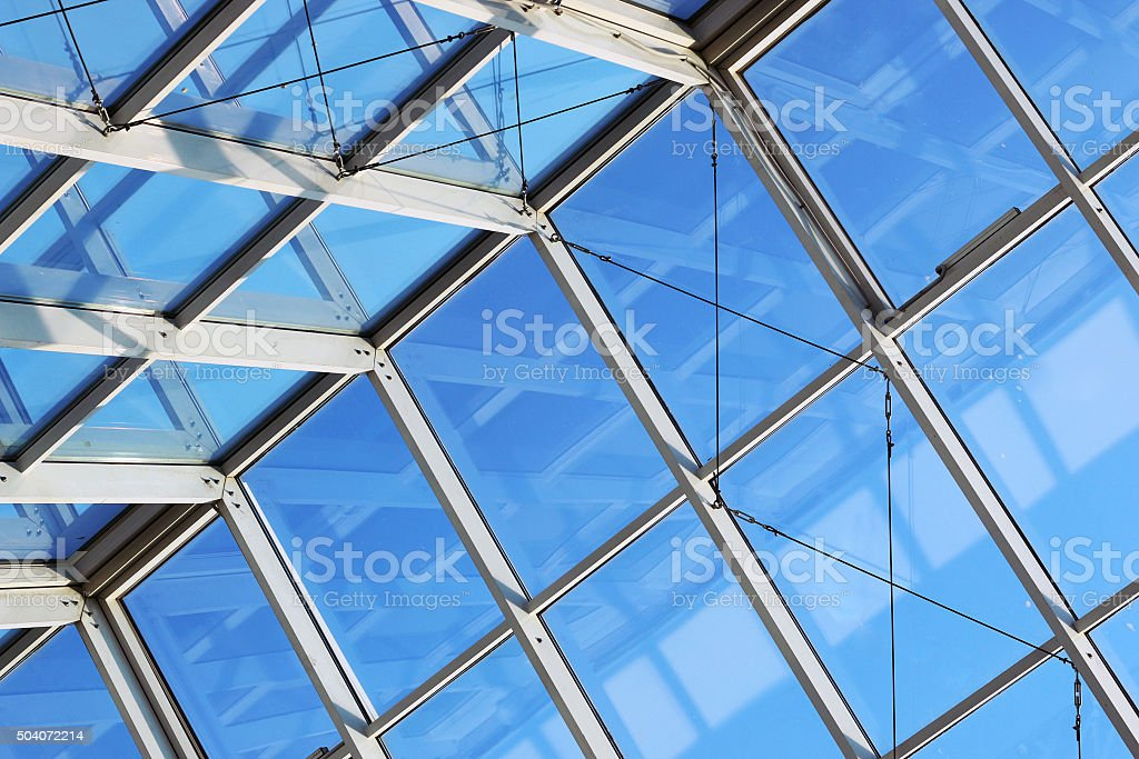glass roof shopping center stock photo