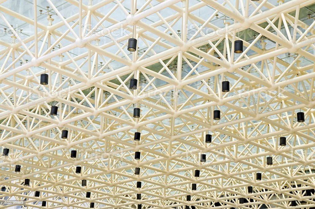 Glass roof structure and the droplight on the ceiling stock photo