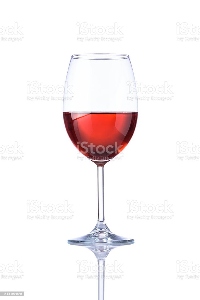 Glass Rose Wine Isolated on White stock photo