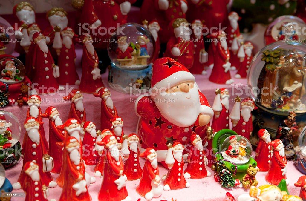 Glass Santas at Christmas Market stock photo