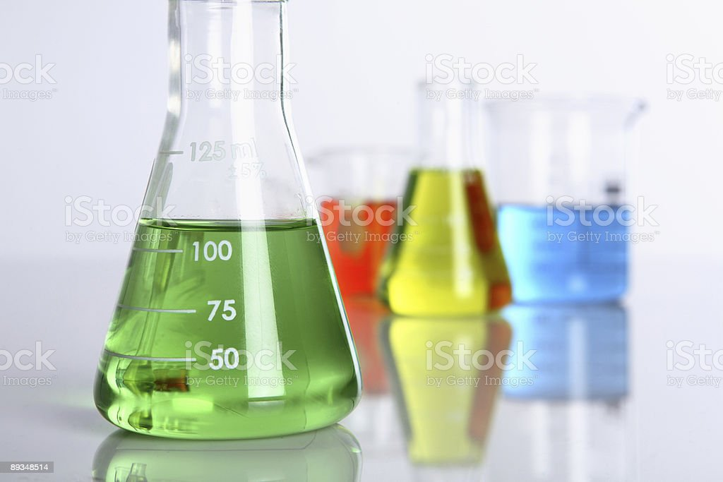 Glass science beakers royalty-free stock photo