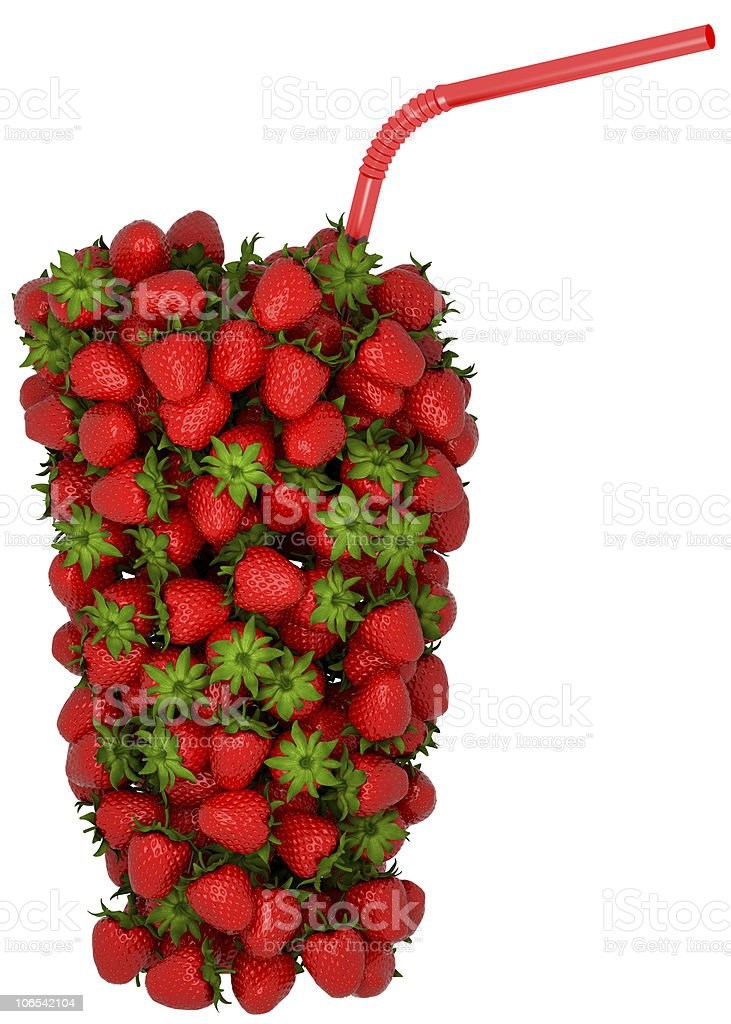 XXXL Glass shape assembled of strawberry with straw royalty-free stock vector art