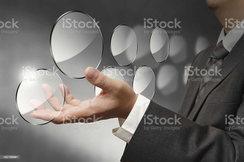 glass shield button on business hand royalty-free stock photo