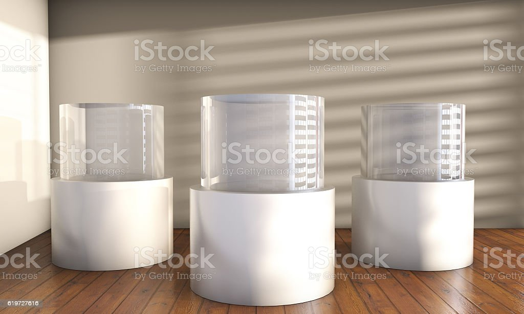 glass showcase and niche with spotlights for exhibit stock photo