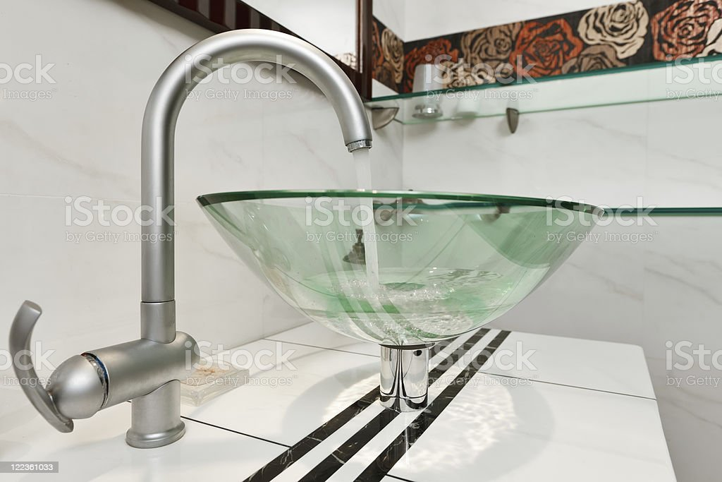 Glass sink bowl in modern minimalism bathroom interior stock photo