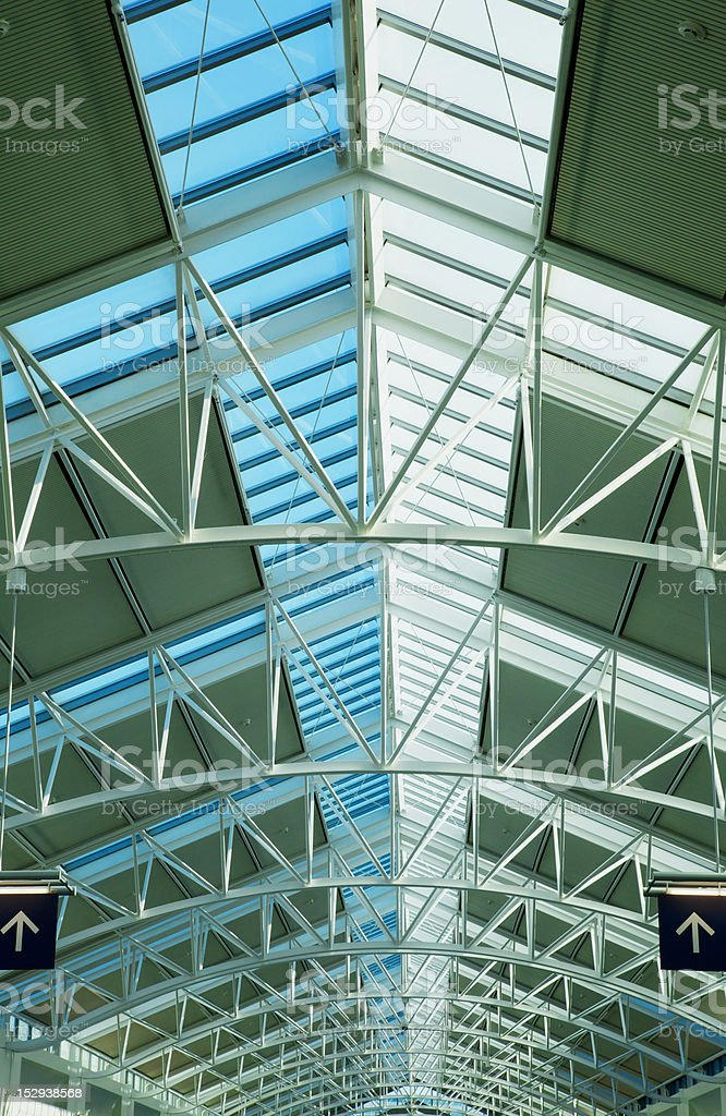 Glass skylight roof two arrows royalty-free stock photo