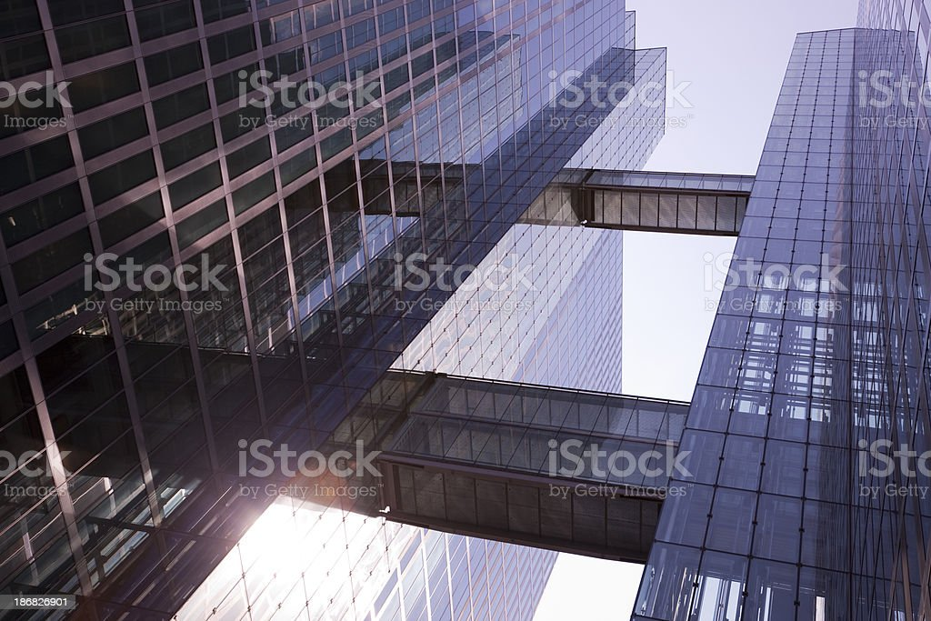 Glass Skyscraper in Sunset Light, Low Angle View stock photo