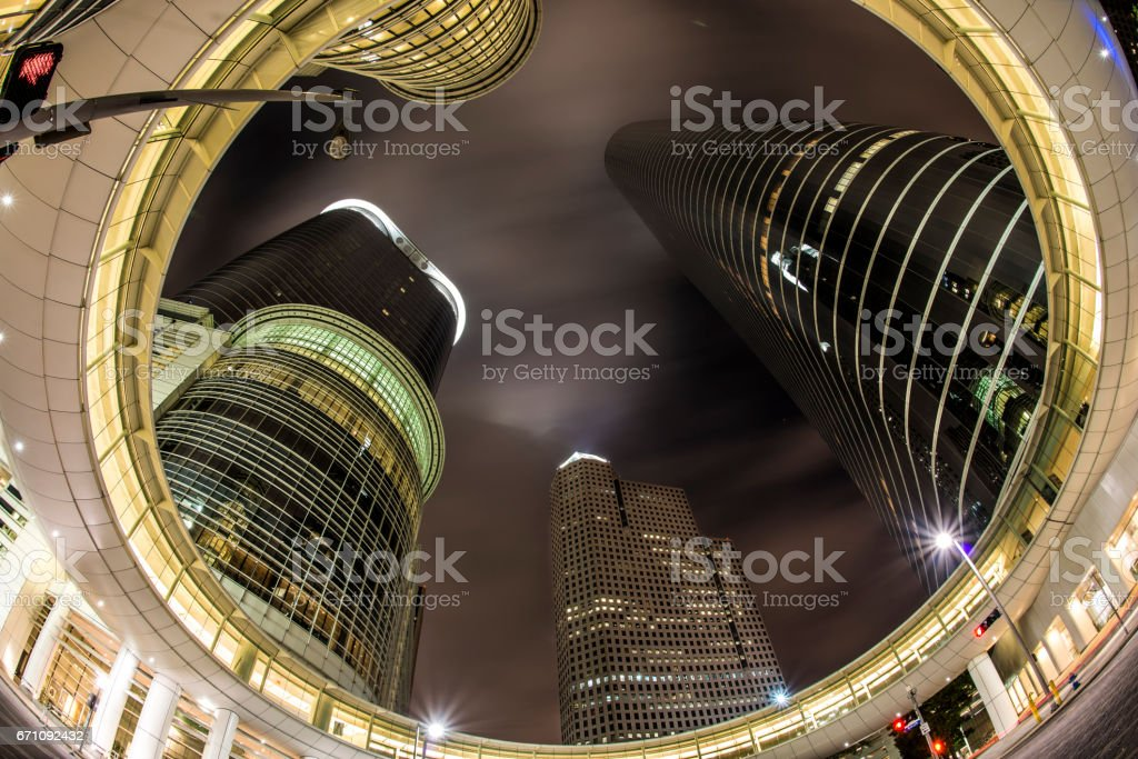 Glass Skyscrapers Downtown Houston at night 2 stock photo