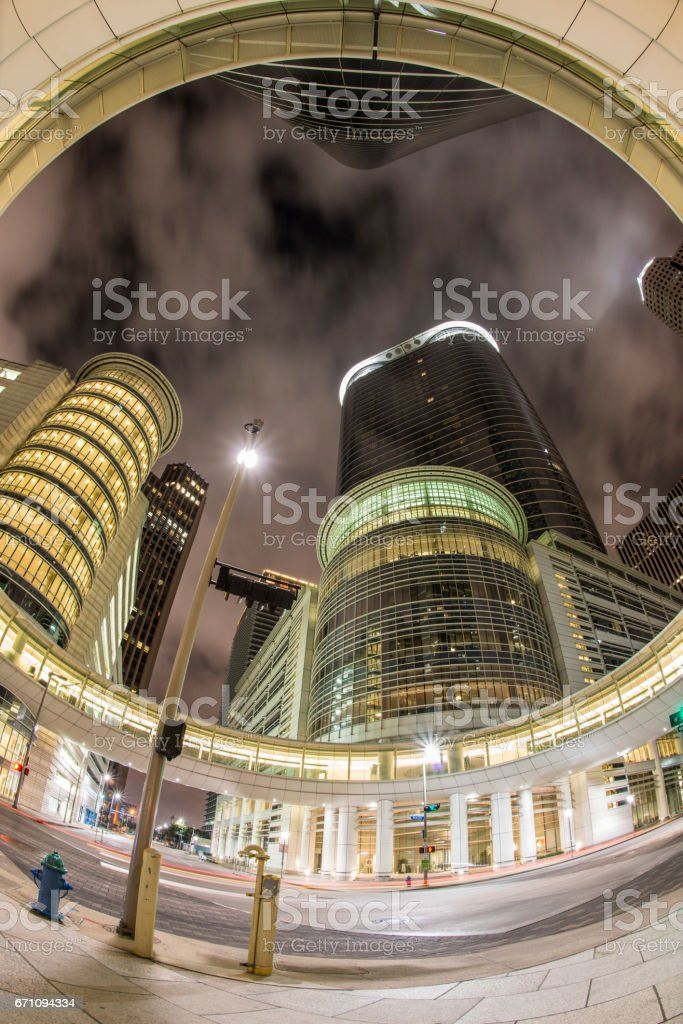 Glass Skyscrapers Downtown Houston at night stock photo