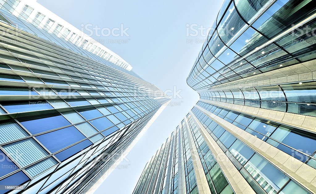 Glass skyscrapers in the city financial district royalty-free stock photo