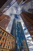 Glass Skyscrapers Street Scene in Calgary