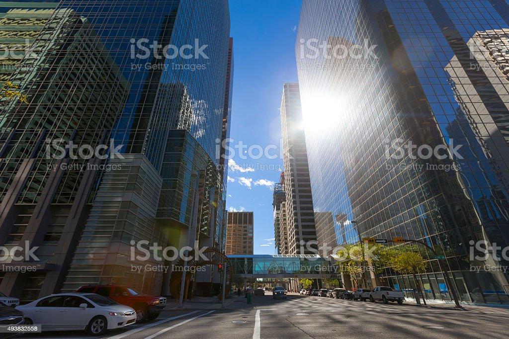 Glass Skyscrapers Street Scene in Calgary stock photo