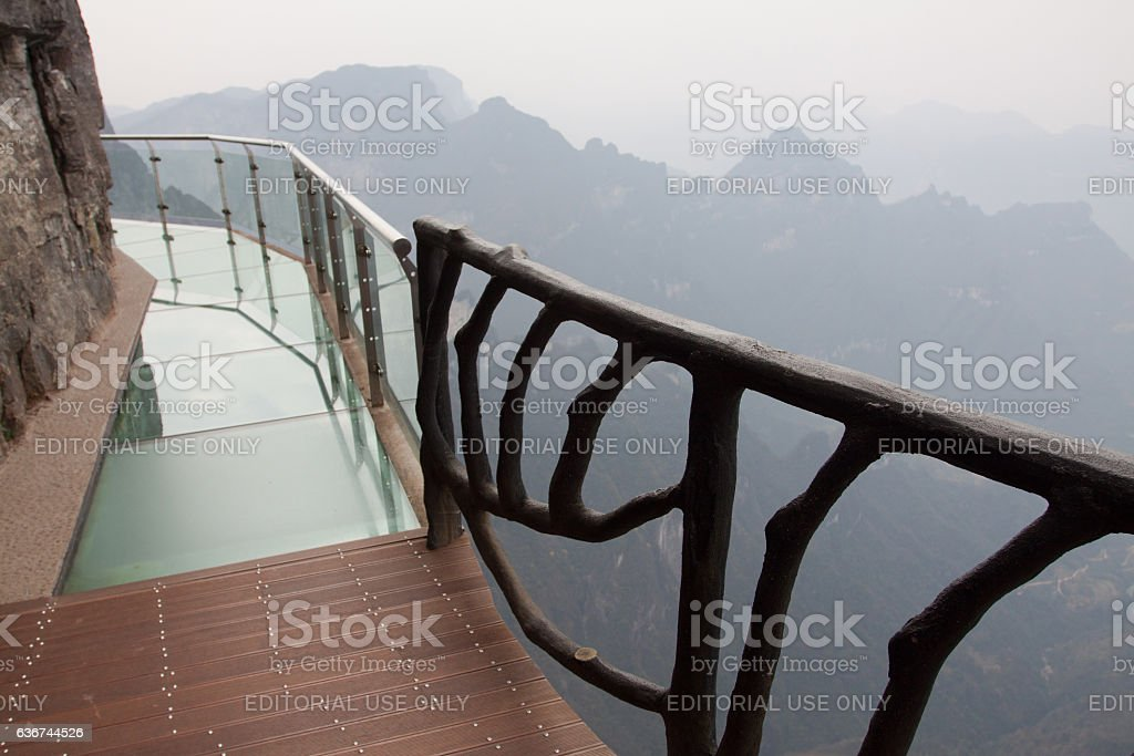 Glass skywalk stock photo