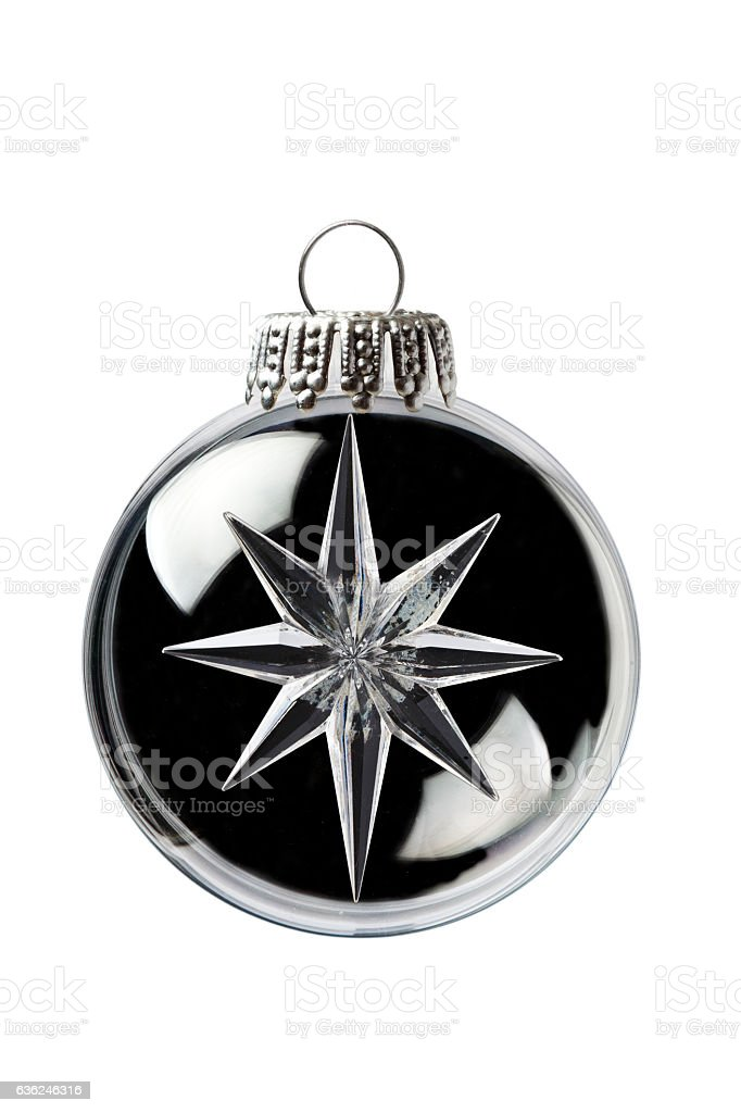 Glass Snowflake in a Christmas Ornament stock photo