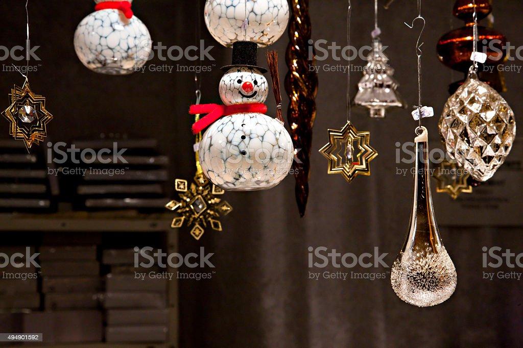 Glass Snowmen christmas tree ornament at Christmas Market stock photo