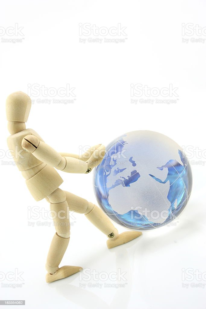 Glass sphere with the man royalty-free stock photo