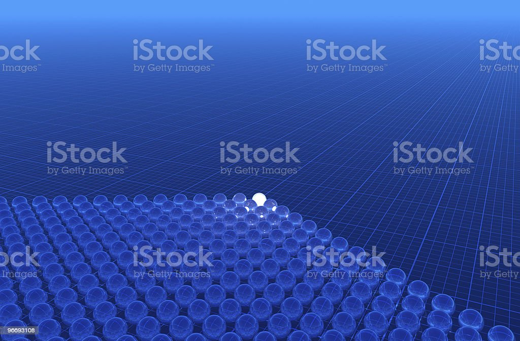 glass spheres on graph paper background royalty-free stock photo