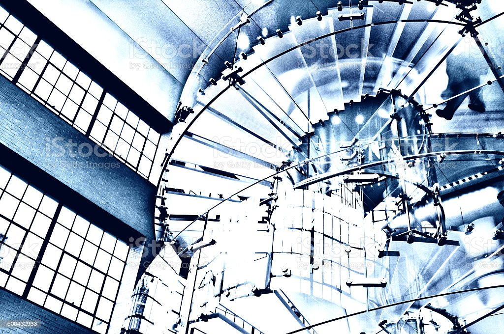 Glass Staircase, Blue Toned, NYC. royalty-free stock photo