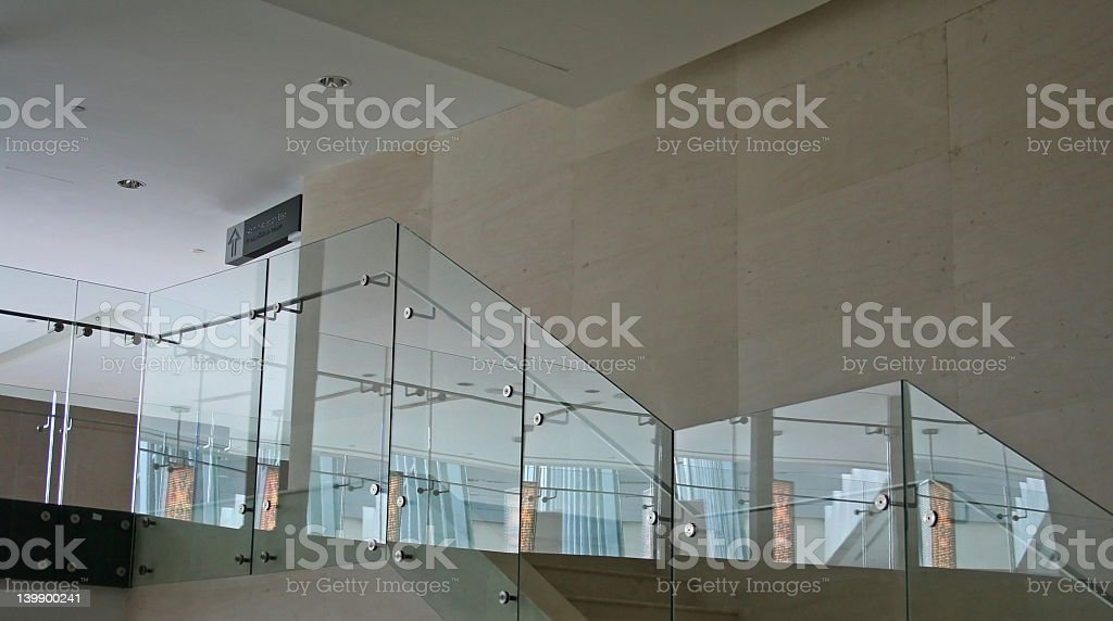 Glass stairs stock photo