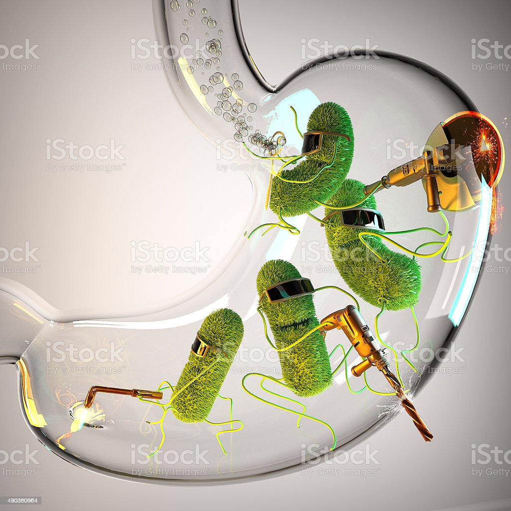 Glass stomach with raging bacteria stock photo