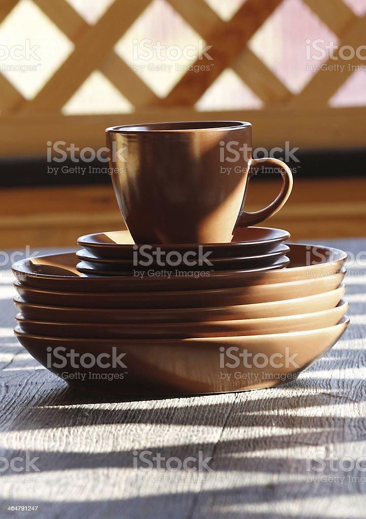 Vidrio, tableware, placas de arcilla foto de stock libre de derechos