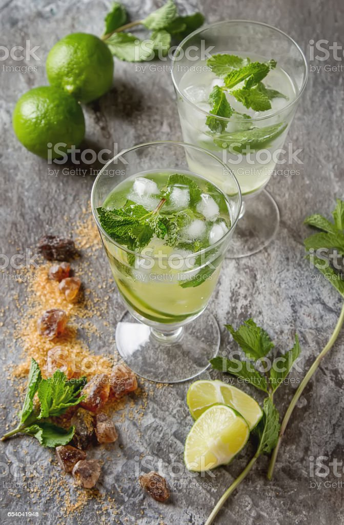 Glass tank mojito and Ingredients for cocktails. Fresh mint, lim stock photo